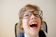 Funny little schoolboy. Royalty Free Stock Photos
