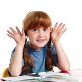 Funny little schoolgirl Stock Photography