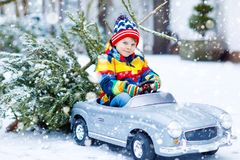 Funny little smiling kid boy driving toy car with Christmas tree. Royalty Free Stock Photos