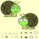 Funny little snail cartoon expressions set Stock Photography