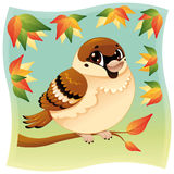 Funny little sparrow on a branch. Cartoon and  illustration, isolated, objects Royalty Free Stock Image
