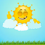 Funny little sun on a clouds Stock Image
