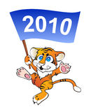 Funny little tiger with flag. Vectr image of funny little tiger with flag stock illustration