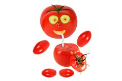 Funny little tomato  drink tomato juice Royalty Free Stock Image