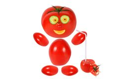 Funny Little Tomato Keeps Tomato Juice Royalty Free Stock Photos