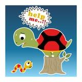 Funny little turtle cartoon vector illustration