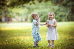 Funny little twins royalty free stock images