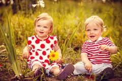 Funny little twins royalty free stock image