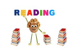 Funny little  walnut offers reading books Stock Photos