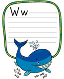 Funny little whale. Alphabet W Stock Photo