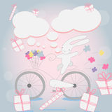 Funny little white Bunny Bicycle Stock Photography