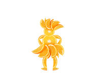 Funny little woman made of the orange slices. Stock Image