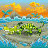 Funny Lizard. Is running in the desert, vector image Royalty Free Stock Photography