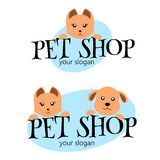 Vector logo design template for pet shops, veterinary clinics and animal shelters. Funny Cartoon logo illustration. Vector logo te vector illustration