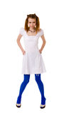 Funny Lolita. Wearing blue tights isolated royalty free stock image