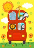 Funny London Bus with animals view front. Vector illustration, eps stock illustration