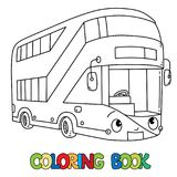 Funny London bus with eyes. Coloring book. London modern double-decker bus coloring book for kids. Small funny vector cute car or vehicle with eyes and mouth stock illustration