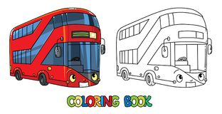 Funny London bus with eyes. Coloring book vector illustration
