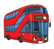 Funny London double-deck red bus with eyes. London modern double-decker bus. Small funny vector cute car or vehicle with eyes and mouth. Children vector vector illustration