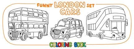 Funny London transport set. Coloring book for kids royalty free illustration