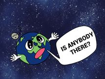 Funny Lonely Earth Cartoon Illustration Stock Photography