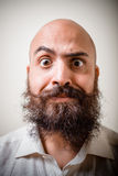 Funny long beard and mustache man with white shirt Royalty Free Stock Image