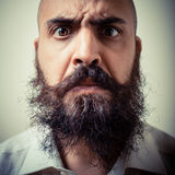 Funny long beard and mustache man with white shirt Royalty Free Stock Photos