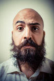 Funny long beard and mustache man with white shirt Stock Photo