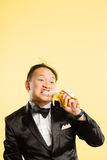 Funny man portrait real people high definition yellow background Royalty Free Stock Images