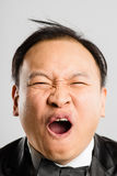 Funny man portrait real people high definition grey background Stock Photo