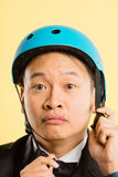 Funny man portrait real people high definition yellow background Stock Photo