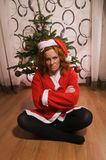 Funny looking bad santa girl Stock Photos