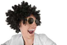 Funny looking guy with black curly wig Royalty Free Stock Photography