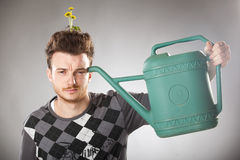 Funny looking guy with dandelions on his head Stock Photos