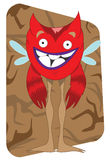 Funny looking red alien monster with wings Stock Photo