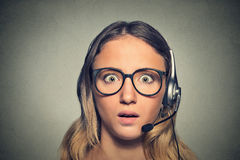 Funny looking shocked customer service representative. Human emotions feelings reaction Royalty Free Stock Image