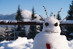 Funny looking snowman. A snow man made of snow branches and cones stock photography