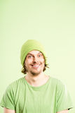 Funny man portrait real people high definition green background Stock Photography