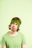Funny man portrait real people high definition green background Stock Photos