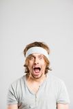 Funny man portrait real people high definition grey background Royalty Free Stock Photo