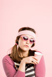 Funny woman portrait real people high definition pink background royalty free stock photos