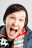 Funny woman portrait real people high definition grey background Royalty Free Stock Image