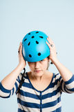 Funny woman wearing cycling helmet portrait real people high def Stock Images