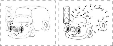 Funny lorry drawing with dots and digits. Coloring book. Funny lorry drawing with dots and digits Royalty Free Stock Photos