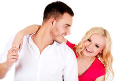 Funny love couple making stupid faces Royalty Free Stock Images