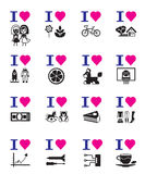 Funny love icon set Royalty Free Stock Photos