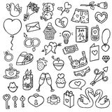 Funny love icons. Vector doodle collection of hand drawn icons Stock Photo