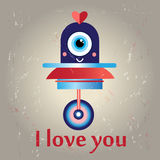 Funny love with a robot Royalty Free Stock Image
