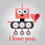 Funny love with a robot Stock Images