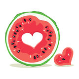 Funny love watermelon - valentine card Stock Images
